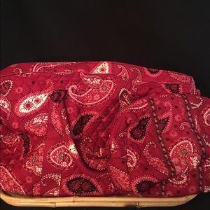 Red Vera Bradley paisley tote, matching makeup bag